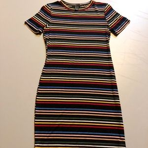 NEW Forever 21 Rainbow/Multicolor Striped Dress